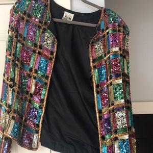 Leslie Fay sequin jacket. Size large. Vintage